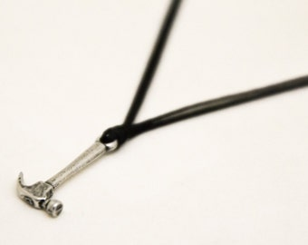 hammer necklace for men, men's hammer necklace with black cord, silver charm. gift for him, handyman, mens jewelry, gift for boyfriend