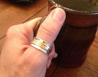 Spinner ring in silver and gold, meditation ring, wide band