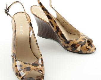 Animal Print Slingbacks, size 8M, wooden look heel, nine west