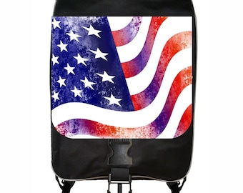 Grunge American Flag Large Black School Backpack