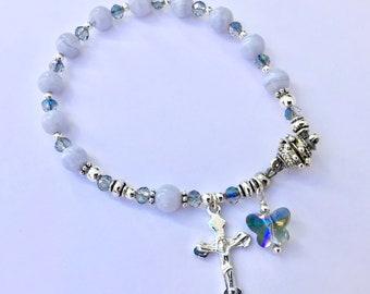 Blue Lace Agate Rosary Bracelet