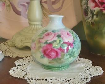 D & C France Porcelain Hand Painted Roses Petite Vase, Signed, Cottage