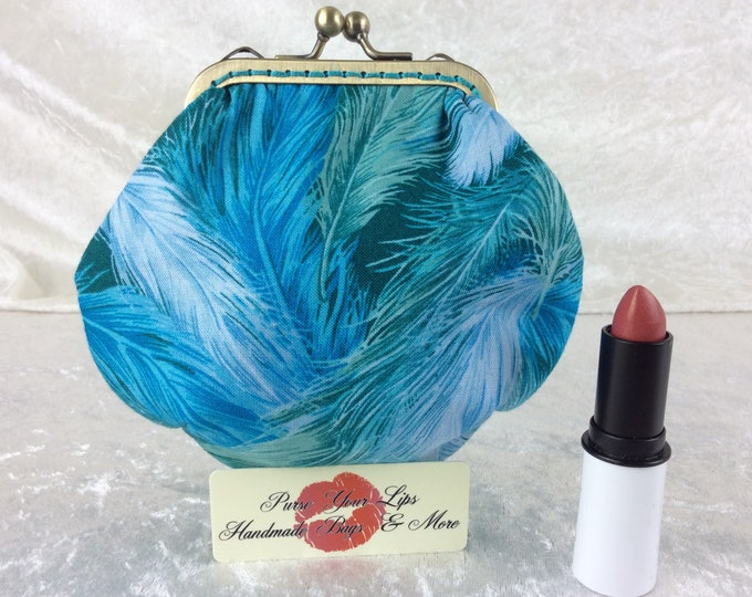 Handmade coin purse frame kiss clasp fabric change wallet pouch Feathers