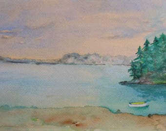 vintage watercolor Maine lake with boat signed