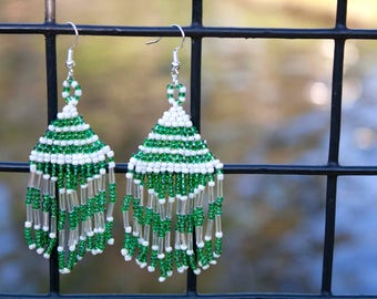 Green & White Native American Seed Bead Earrings