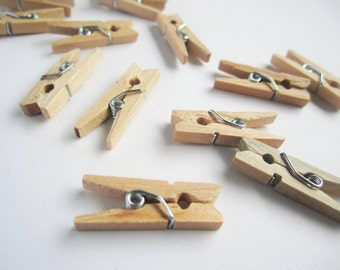 50 natural unfinished mini wooden clothes pin pegs - 3x25mm