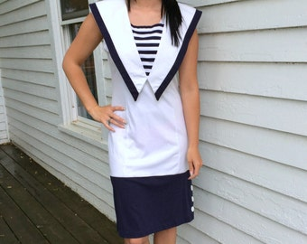 Nautical Dress 80s Retro Sailor Vintage White Blue Dark Striped S