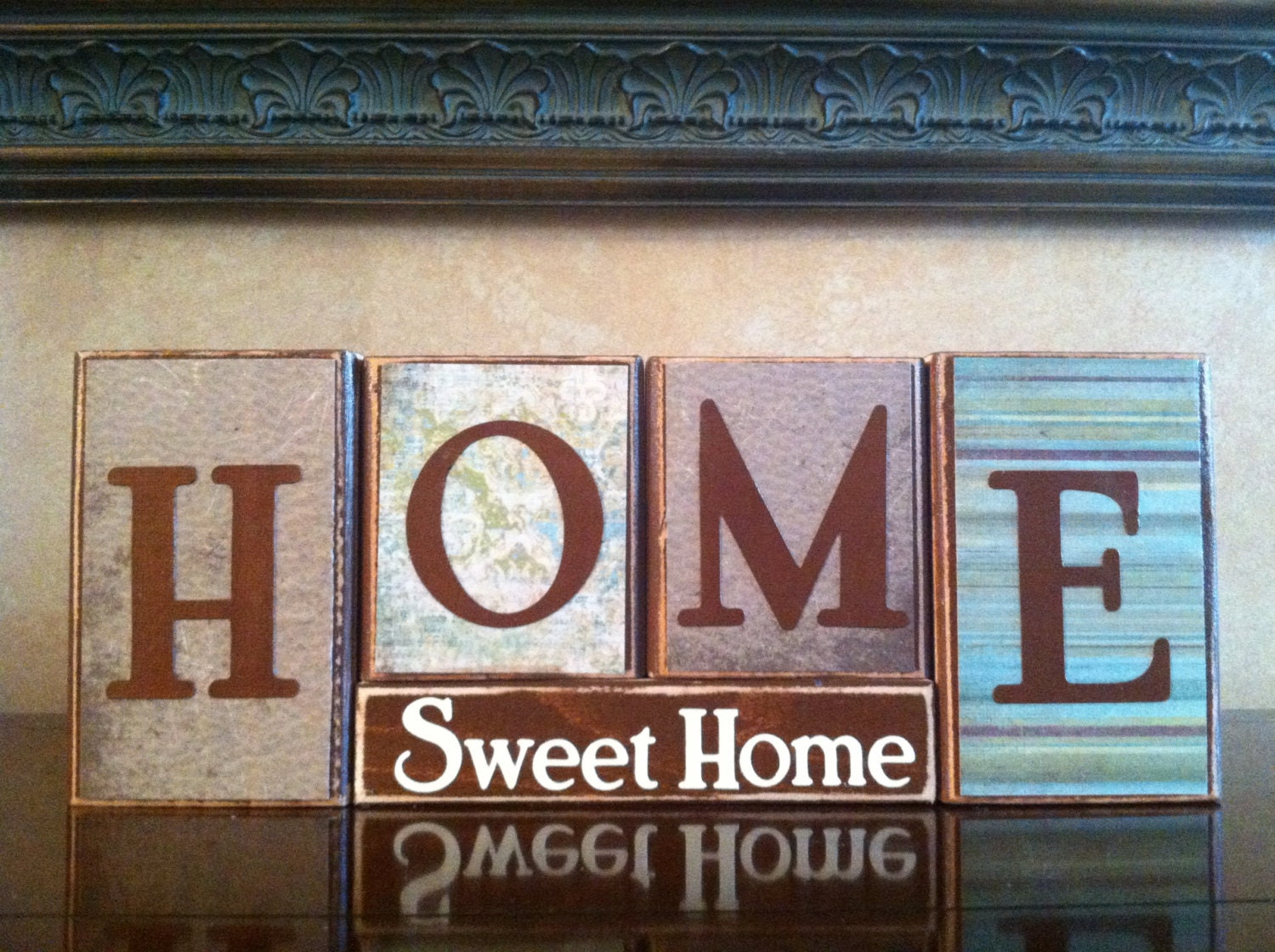 home sweet home wood blocks wood sign home decor fireplace. Black Bedroom Furniture Sets. Home Design Ideas