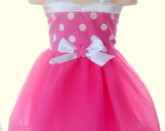 Pink Minnie Dress: pink and white polka dots lined, tutu dress, easy on and off for parks trip or birthday party, meet and greet, costume
