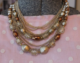 Vintage Beads and Gold Chain Multi Strand Necklace