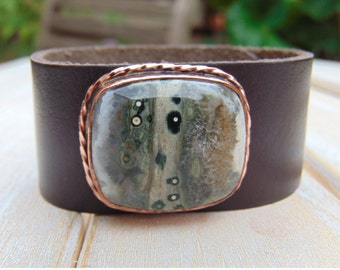 Ocean Jasper Leather Cuff - Copper Jewellery - Gemstone Cuff - Leather Bracelet Cuff - Jasper Jewellery - Leather Wristband - Boho Jewellery