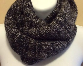Cashmere blend infinity scarf, loop cowl, fleck pattern (brown/white/black)