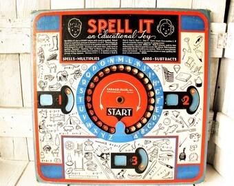 Vintage Spell It Educational Toy Cadaco Ellis retro images cardboard dials spelling arthimetic math 1937- free shipping US