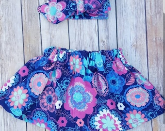Floral girls skirt and headwrap set. Bright floral skirt. Cute babygirl skirt. spring flower skirt and hairbow crop top