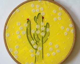 Cactus Embroidery Art on Vintage Floral Fabric