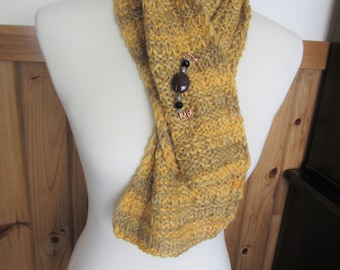 Handgestrickte Alpaka kurzer Schal aus handbemalter Alpaka Garn w/kostenlose Schal Pin