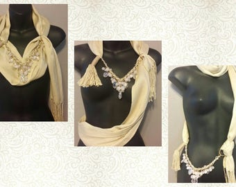 IVORY Scarf Wrap Necklace - Scarves - Wrap - Handmade - Fashion