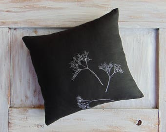 Black & white decorative pillow, linen pillow, rustic, linen textile, home decor, accent pillow, decorative pillow case