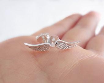 925 Sterling Silver Angel Wings Earrings, Angel Wings Earrings, Angel Wings Studs, Angel Wings Jewelry, Wing Studs, Wing Jewelry, Tiny Wings