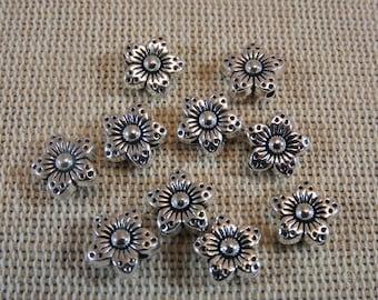 Flowers metal silver flowers, metal beads 9mm, lot 10 beads, 9mm flower beads, beads for jewelry, flower metal 9mm