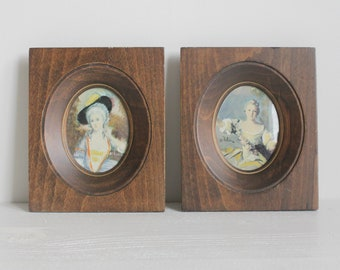 Two Antique Framed Miniature Portraits Hand Painted 19th Century
