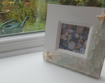 Wooden photo frame with sea glass, shells, starfish and pearl decorations, seashell picture frame