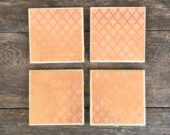 "Peach and Gold Moroccan Trellis Pattern ""Shelby"" Ceramic Coasters"