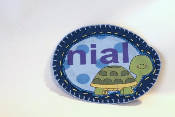 Turtle Name Patch, Personalized Hand Embroidered, Painted Decorative Accessory for Jeans, t shirts, bags