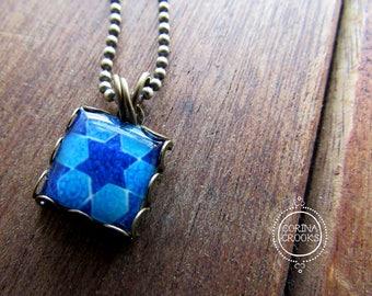 Judaica Jewelry, pendant, Jewish jewelry, necklace, Hebrew Art, Vintage tile design, Star of David, Blue, Tribal, Persian jewelry, Ethnic