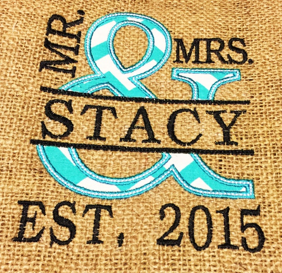 Custom MR & MRS est. any year any Name ampersand embroidered ...