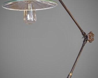 Vintage Industrial Floor Lamp Machine Age Task Light Cast