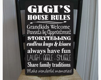 GiGi's House Rules for Grandchildren with love Grandmother  Handpainted Wood Sign 16 x 10.5