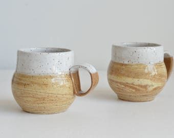 A Set of 2 Handcrafted Marbled Ceramic Mugs