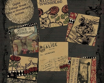 Digital Download Printable Collage Sheet Inchies 1 x 1 size - Alice in Wonderland