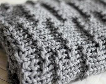 KNITTING PATTERN Horizontal Dash Mini Blanket Wrap, Photo Prop, Basket Liner, Instant Download