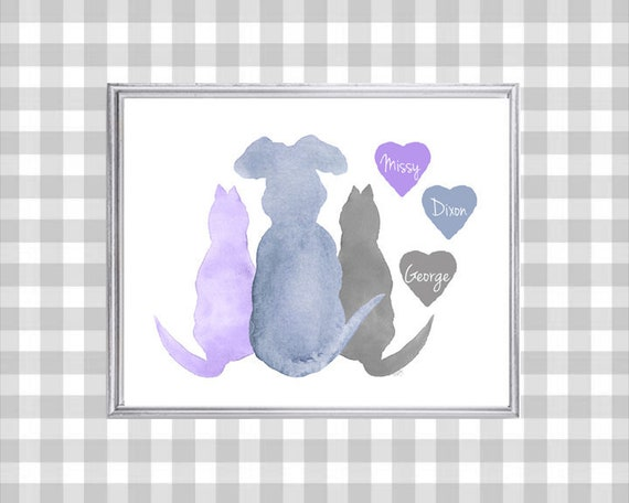 Pet Family Gift, 8x10 Personalized Pet Print