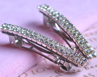 Wedding Hair Barrette, Wedding Hair Accessories, Simple Glam Swarovski Crystals, Set of 2