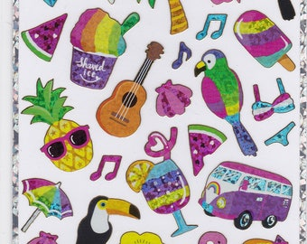 Flamingo Toucan Fruits Tropical Island Glitter Stickers (21130) Price depends on order volume.