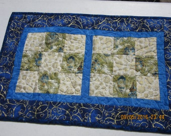 Reduced Quilted Christmas Runner, Reduced Quilted Table Topper, Quilted Table Spread, Quilted Table Runner