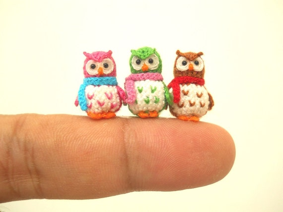 Cute Little Amigurumi Owl : Three micro mini owls tiny amigurumi crochet miniature owl