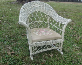 Childs Wicker Rocking Chair, Shabby Chic Decor, Large Doll Rocking Chair, Vintage  Wicker