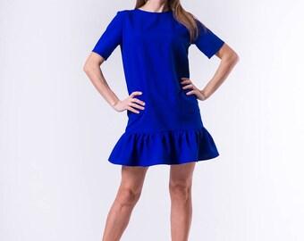 women's cute straight sleeve dress short with pockets, ruffle dresscelebration beautiful dress, blue dress, летнее платье, summer dress