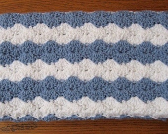 Baby Boy Blanket Blue and White Striped Soft Afghan Crib Blanket