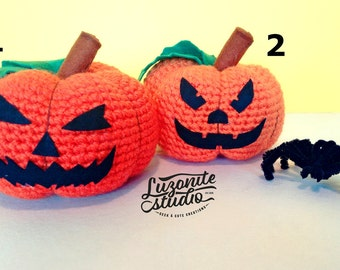 Amigurumi of pumpkins for Halloween, handmade stuffed pumpkins