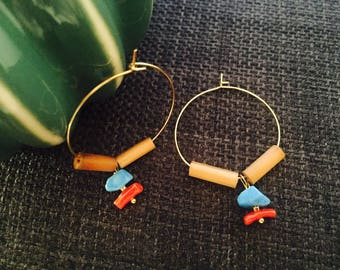 Turquoise and coral, wood, goldfilled hoops