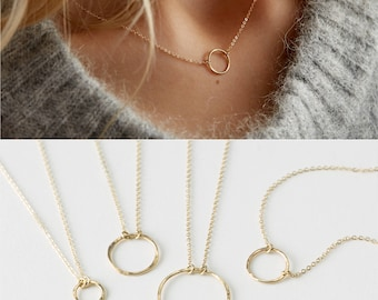 Open Circle Karma Necklace • Simple Dainty Gold Necklace, Delicate Chain & Circle Outline • Ring Link Karma Circle • Layered + Long, LN132