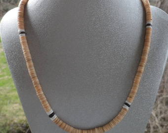 Men's 17 inch Shell Necklace with Antique Brass Lobster Clasp and Antique Brass Pewter Ends