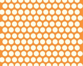 Orange Polka dot fabric - Birch Organic Cotton Fabric - Dottie Cream Orange - Mod Basics Poplin - Orange and Cream Dots- Quilting Fabric