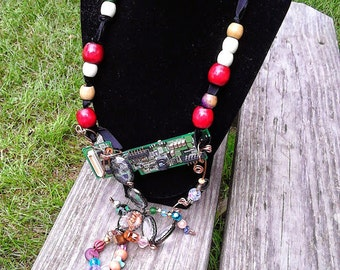 Reused Motherboard Beaded Necklace with Funk Upcycled Recycled Repurposed OOAK