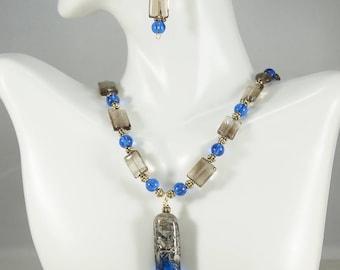 Lampwork pendant necklace, Smoky Quartz Necklace, Blue Necklace, Smoky Quartz earrings, Gemstone Jewelry, Free Shipping, Item #522